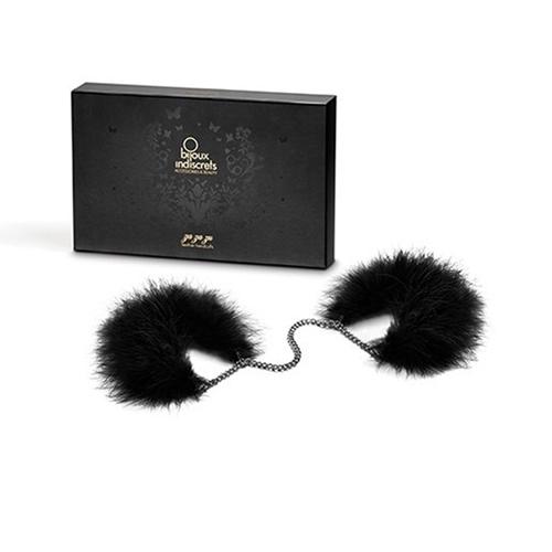 Erotične kovinske lisice | črni puhek