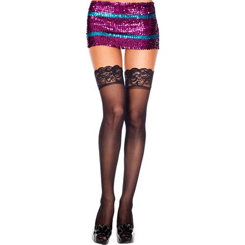 Erotične nogavice | prozorna čipka | črne