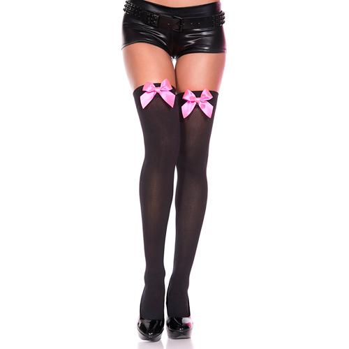 Erotične nogavice z mašnjo | črne