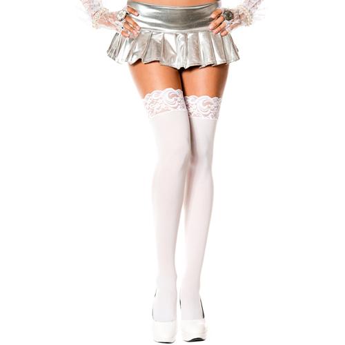 Erotične nogavice v beli barvi | čipka
