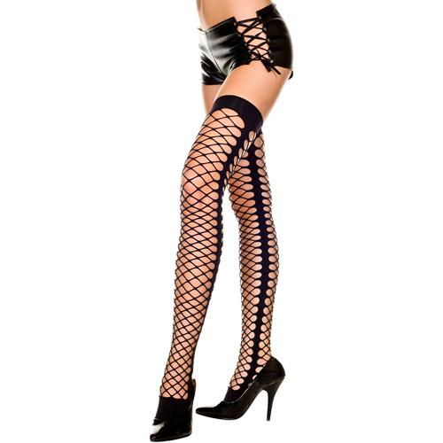 Erotične nogavice | črne | luknjaste