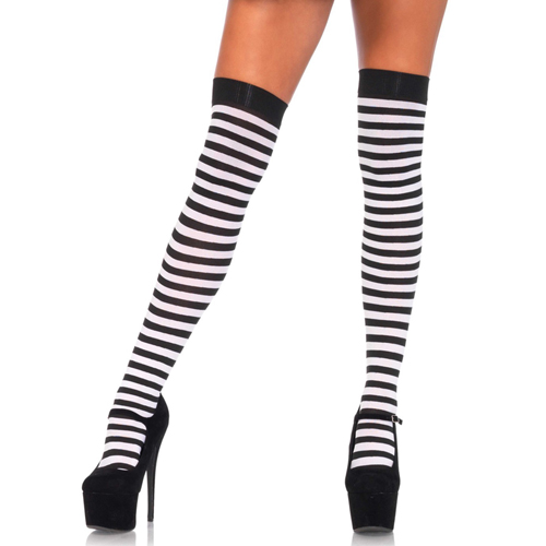 Erotične nogavice | črtaste | belo črne