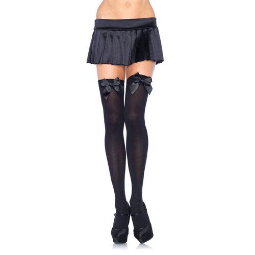 Črne erotične nogavice | mrežaste z mašnico