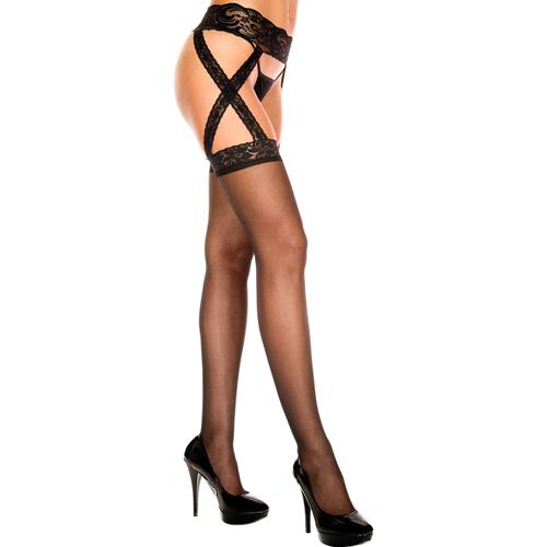 Suspender nogavice s pasom | prosojne